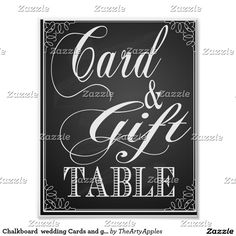 Chalkboard  wedding Cards and gift table print