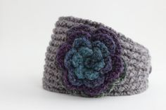 Grey Headband with purple and blue shimmer Crochet by Rouve, $25.00