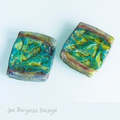 Rustic square beads  2 Textured beads Clay von JBDRusticOrganic