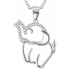 Lucky Charm Gift 925 Sterling Silver Cubic Zircon Small Elephant Pendant Necklace Rolo Chain