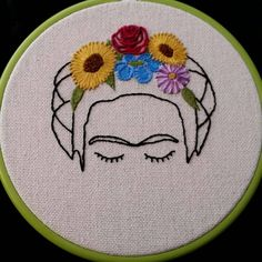 Arte del bordado de Frida Kahlo Hand Embroidery Stitches, Modern Embroidery, Diy Embroidery, Cross Stitch Embroidery, Cross Stitch Patterns, Cross Stitching, Needlework, Couture, Etsy