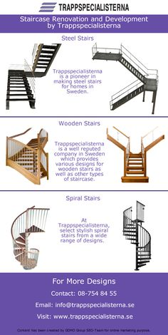 Trappspecialisterna designs, develops and renovates the staircases for homes. You can choose from th many designs available at Trappspecialisterna varying from wooden stairs, steel stairs and spiral stairs.