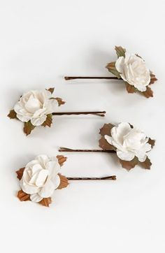 Whichgoose White Rose Bobby Pins (Set of 4) | Nordstrom
