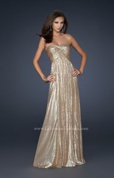 Gold Full Sequin Strapless Evening Gown By La Femme 17085