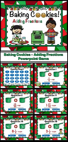 Who else bakes cookies for Santa? Your students will have fun with this Adding Fractions Student vs. Student game. Students are adding like/unlike fractions and mixed numbers in this baking Christmas cookies themed game.  You can have up to four teams. There are 20 questions and you just click on each question to go to it. The question disappears after you've clicked on it so you know you've answered it. There is a type-in scoreboard.  The scoreboard can be typed in during Slideshow Mode.