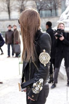 FAUSTO PUGLISI leather and gold details jacket