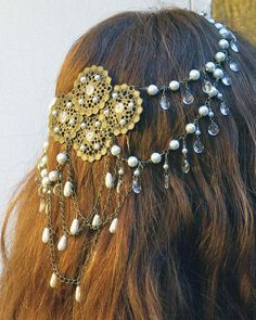 $150.00 Bridal Antiqued Brass and Pearl Hair Piece#Repin By:Pinterest++ for iPad#