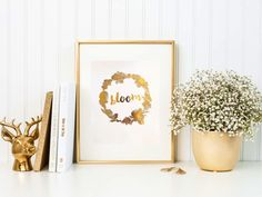 Bloom floral gold foil print/ kitchen print/ by TradeandUnion