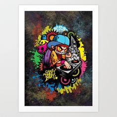 Crazy Monkey Beat Art Print by HOOKEEAK - $18.00