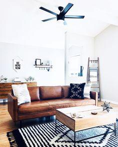 Axel Leather Sofa Home Decor – Mobilier de Salon Boho Living Room, Home And Living, Modern Living, Small Living, Bohemian Living, Minimalist Living, Minimalist Decor, Living Area, Living Rooms