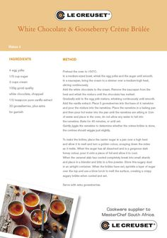 Looking for some winter warmer comfort recipes? Le Creuset has plenty! Winter Warmers, Creme Brulee, Le Creuset, Recipe Cards, White Chocolate, Mousse, Recipies, Ice Cream, Pudding