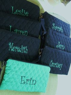 Quilted Wristlet for Cheer, Weddings, Bridesmaids, Gifts, Cosmetics & Personalized Monogram. $15.95, via Etsy.com/shop/maureenmakesit