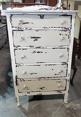 White Shabby Chic 5 Drawer Chest