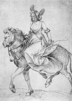 Artist: Schäufelein, Hans Leonhard, Title: Frau zu Pferde (Woman on horseback), Date: ca. 1510