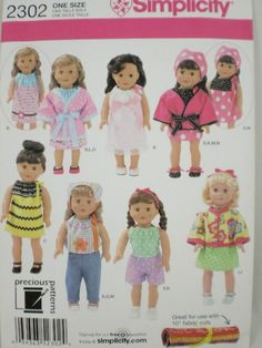 AMERICAN GIRL doll clothes pattern Simplicity 2302 Modern Look  Brand New Pattern