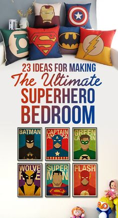 23 Ideas For Making The Ultimate Superhero Bedroom...obviously, baseball theme isn't going anywhere, but if Asher had his own room...