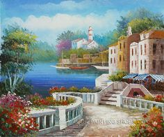 "Bliss Art Reproduction Oil Mediterranean Landscape Oil Painting, Size: 24"" x 20"", $83. Url: http://www.oilpaintingshops.com/bliss-art-reproduction-oil-mediterranean-landscape-oil-painting-1962.html"