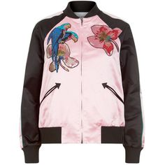 Valentino Tropical Embroidered Bomber Jacket (249,210 INR) ❤ liked on Polyvore featuring outerwear, jackets, sweaters, valentino jacket, embroidered jacket, floral-print bomber jackets, embroidered bomber jackets and blouson jacket