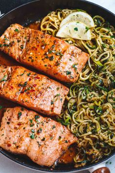 Garlic Butter Salmon with Zucchini Noodles - Butter Lemon Zucchini . Lemon Garlic Butter Salmon with Zucchini Noodles - Butter Lemon Zucchini Garlic with.Lemon Garlic Butter Salmon with Zucchini Noodles - Butter Lemon Zucchini Garlic with. Healthy Meal Prep, Healthy Snacks, Healthy Eating, Healthy Recipes, Weeknight Recipes, Dinner Recipes, Clean Eating, Paleo Fish Recipes, Baked Salmon Recipes