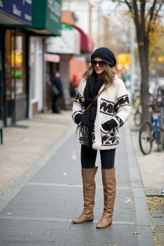 love this outfit with tall boots and leggings