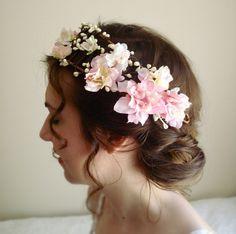 bohemian flower head wreath - PETIT CHERIE -  fairy tale wedding hair crown. $110,00, via Etsy.