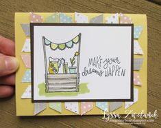 Lemonade Stand Sunny Days stampin Up set card Lyssa lemons watermelon Cardboard Crafts, Paper Crafts, Line Art Images, Gelli Plate Printing, Stampin Up Catalog, Paper Strips, Mini Photo, Card Making Techniques, Diy Cards