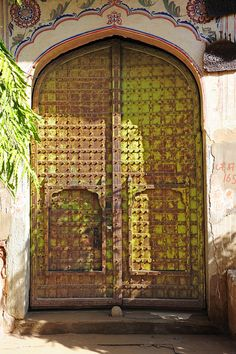 Rustic door by to a haveli. India