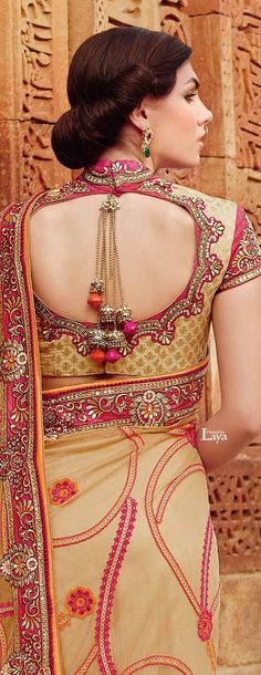 Designer Blouse Designs https://www.facebook.com/nikhaarfashions  love the beadwork on this.