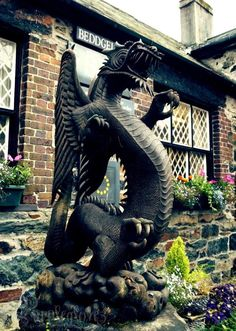 Great looking hand-carved wooden dragon in Beddgelert, North Wales.