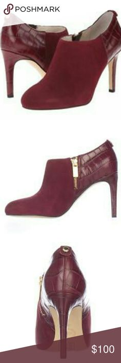 Michael Kors Sammy ankle bootie Elegant and Sexy Michael Kors wine suede and croc print leather ankle heel booties. A MUST HAVE! Michael Kors Shoes Heeled Boots