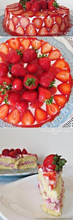 Receita de um delicioso bolo de moranfo com chantilly! Foto Via: recantocomtempero.blogspot.com.br
