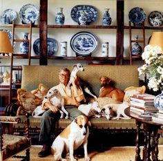 John Rosselli, with his collection of dogs and his collection of Chinese & English blue & white!   Chinoiserie Chic: Dogs and Chinoiserie