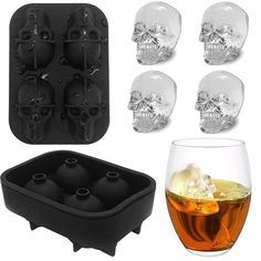 Food Silicone Ice Cube Skull Mold Whiskey Drink Ice Ball Maker Tray 4 in 1 Silicone Ice Molds, Ice Cube Molds, Ice Cube Trays, Round Ice Cubes, Wine Ice Cream, Skull Mold, Silica Gel, Diy Molding, Chocolate Molds