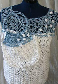 Free crochet top and marching purse pattern. Pattern is written in ladies sizes medium, large, extra large and double extra large.