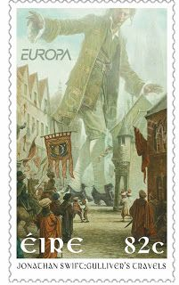 Art © P. Gulliver's Travels, by Jonathan Swift (Author/Poet. Ireland, Classic Children's Books postage stamps for An Post, the Irish Postal Service. Give credit where due. The Happy Prince, Gulliver's Travels, Postage Stamp Art, Going Postal, Stamp Catalogue, Vintage Stamps, Illustrations, Mail Art, Stamp Collecting