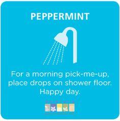 Peppermint essential oil shower. {Buy dōTERRA essential oils here: http://www.mydoterra.com/soniakubecka/
