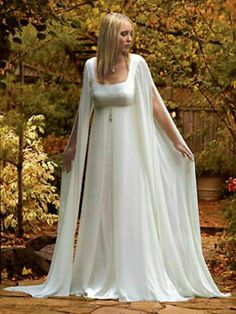 Mediaeval Long Sleeves White/ivory Beach Bridal Gown Chiffon Wedding Dress for sale online Pagan Wedding, Viking Wedding, Medieval Wedding, Celtic Wedding, Wedding Veil, Witch Wedding, Renaissance Wedding Dresses, Wedding Dress Styles, Scottish Wedding Dresses
