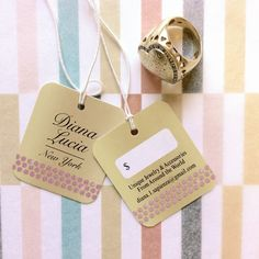 "Jewelry Hang Tags, 1.5"" x 1.75"" : Maybe to big for rings, but perfect for bracelets and necklaces.  http://www.hautecards.com/hang-tags/"