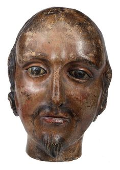 Carved wooden head of James I. English, about 1688-90 (XVII.47)