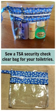 Instead of using a Ziploc bag to take your small toiletries through airport security, it's easy to make one of these wipe clean clear vinyl bags instead. Perfect for the plane.