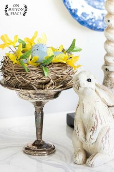 Adding Spring Greenery & Flowers to your Decor | Easy and unexpected ways to add a pop of green and a touch of spring to your spaces. Bird's nest | Easter decor.