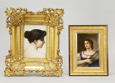 Lot 002 S73 - 2 European Porcelain Hand Painted Plaque of Woman - Est. $500-800 - Antique Reader