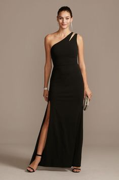 Dare to be different in this fresh take on a traditional sheath silhouette with a thigh-high skirt slit and a cutout detail at the asymmetric neckline. Polyester, spandex Back zipper; fully lined H Black Tie Wedding Guests, Black Tie Wedding Guest Dress, Formal Wedding, Long Evening Gowns, Formal Evening Dresses, Long Gowns, Black Tie Attire, Mother Of The Bride Dresses Long, Prom Dress Shopping