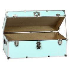 Light Pastel Blue Steel Trunk With Optional Cedar Lining And Wheels