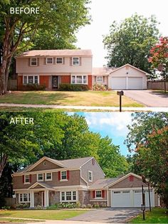 Get Inspired With Before and After Comparisons - Can you spot all the upgrades? In particular, notice the attic extension, the columned porch and the switch from brick to stone. Add some new paint and some updated window_bars#, and you've got the pretties house on the block.