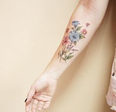 Small Tattoos sells temporary tattoos designed by professional artists and designers. Our temporary tattoos are safe and non-toxic. Forearm Flower Tattoo, Inner Forearm Tattoo, Forearm Tattoos, Body Art Tattoos, Tatoos, Colorful Flower Tattoo, Flower Tattoo Designs, Floral Flowers, Dainty Flower Tattoos