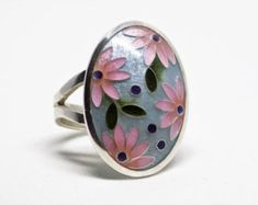 Turquoise enamel band ring sterling silver band by EnamelOnSilver