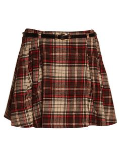 Tartan Print Belted High Waisted Skater Skirt in Red/ Brown £ 12.95 #chiarafashion #tartan #print #skater #skirt #high #waisted #trend #style