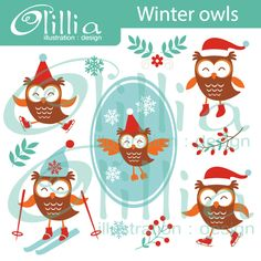 Winter owls clipart - great for Christmas and New Year cards, invitations, t-shirts and web design.
