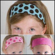 FREE! Fabric Headband pattern - Sizes Baby-Adult... either add Velcro or make extra long tails for tying
